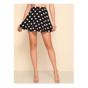 Must Have Black White Polkadot Print Skater Skirt